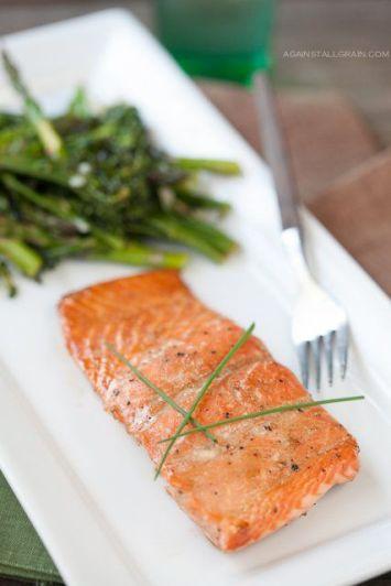 Glazed Salmon with Roasted Broccolini & Asparagus
